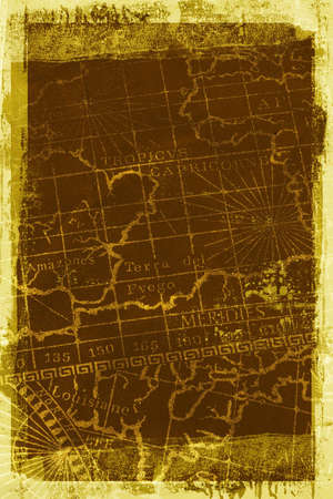 An old grungy map background texture with a grunge border