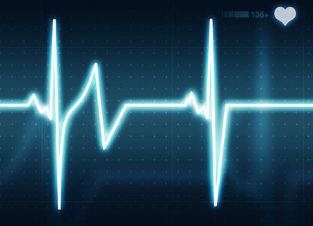 A medical background with a beat  pulse with a rate monitor symbol Stock Photo