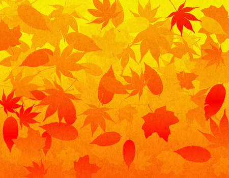 A falling leaves illustrated background using fall colors with a slight organic texture overlay