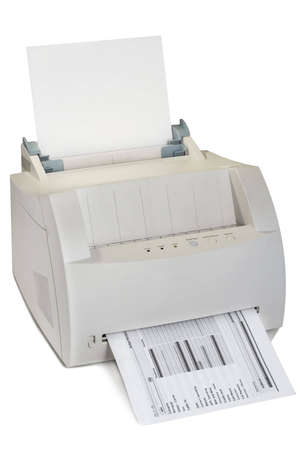 printing out: Laser printer with a financial budget printing out on a white background
