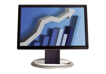 A wide screen LCD monitor on a white background  displaying a business graph