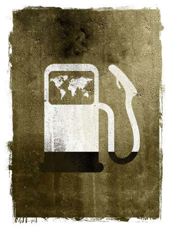 A abstract textured grunge illustration of a gas pump with a world map running out of oil and titling on its side