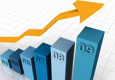Business Graph with arrow showing profits and gains from the year 2004 to 2009 Stock Photo