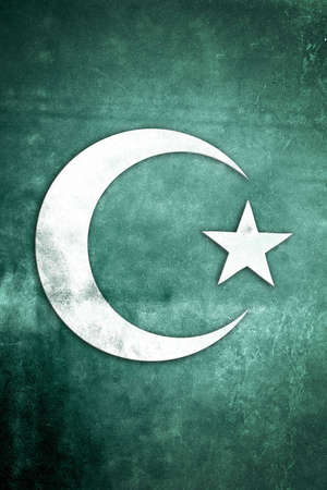 crescent moon: White Islamic Crescent Moon on green textured grunge background Stock Photo