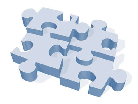 rendered: A 3D rendered jigsaw puzzle on a white isolated background