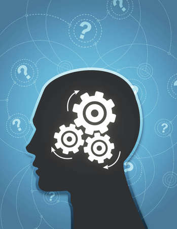 An abstractÊ illustration of aÊsilhouettedÊhead thinking hard trying to answer questions.