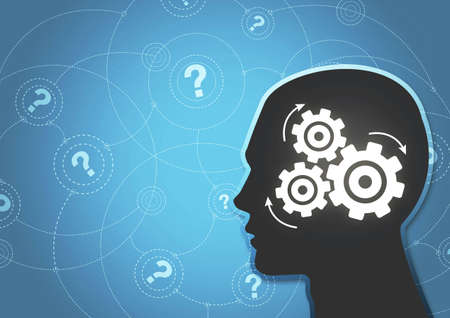 trying: An abstract� illustration of a�silhouetted�head thinking hard trying to answer questions.