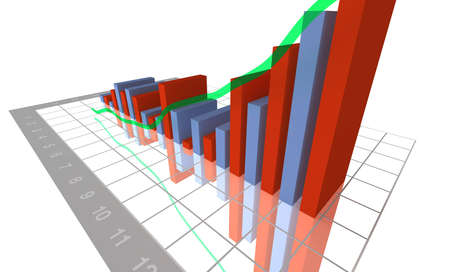 3-D Business Bar Graph on reflective white grid