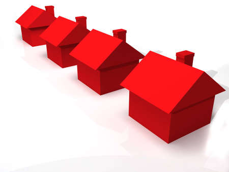 A 3D rendered image of red houses isolated on a white reflective background.