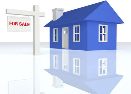 3D rendered Blue house with realator sign on a white reflective background