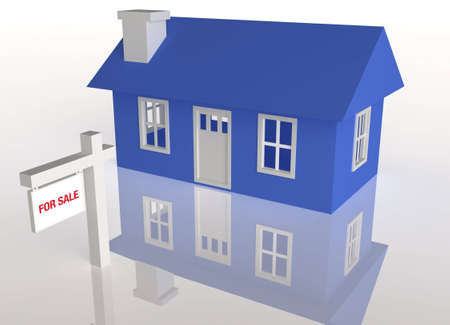 foreclosed: 3D rendered Blue house with realator sign on a white reflective background