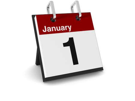 the january: Un calendario de d�a 3D sobre un fondo blanco, mostrando la fecha 1 de enero