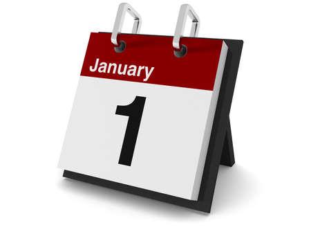 """styczeń: Kalendarz dzieÅ"""" 3D na biaÅ'ym tle zawierajÄ…cy datÄ™ 1 stycznia. Zdjęcie Seryjne"""