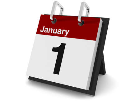 Un calendario de día 3D sobre un fondo blanco, mostrando la fecha 1 de enero