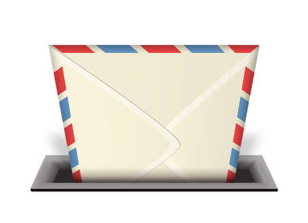 An illustration of an envelope or email being delivered into a mail slot or in-box with a 3d perspective