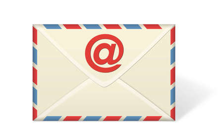 An illustration of an envelope or e-mail on a white background. Stock Photo