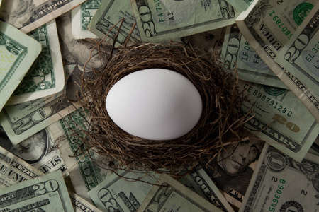 A white egg in a straw nest over a pile of dollar bills Stock Photo