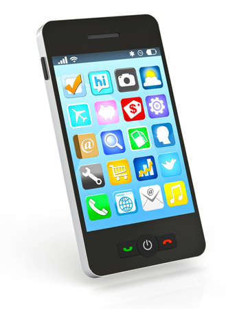 A 3D rendering of a touch screen smart phone with application icons on a white semi-reflective background. Use as is, or add your own image to the screen. Stock Photo