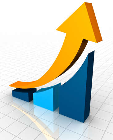 financial gains: A 3D rendering of a simple curved business bar graph on a white reflective background showing an ornage arrow curving upwards to show profits and gains