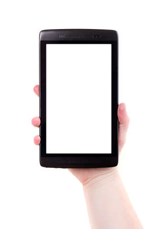 A 7 inch digital touchscreen tablet held in one hand on a white background  Add your own background image