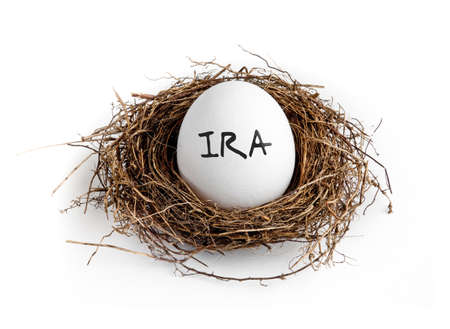 retirement nest egg: A white egg in a nest on a white background with the word IRA on the egg