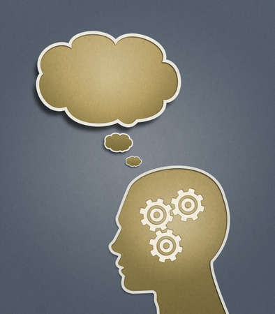 brain storm: An abstract  illustration of a silhouetted head thinking hard trying to solve problems   answer questions over a grey and brown paper textured background
