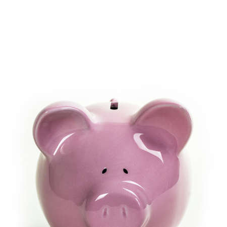 A closeup shot of a piggy bank on a white background  Plenty of room for copy space  Just add your own copy above the pigs head