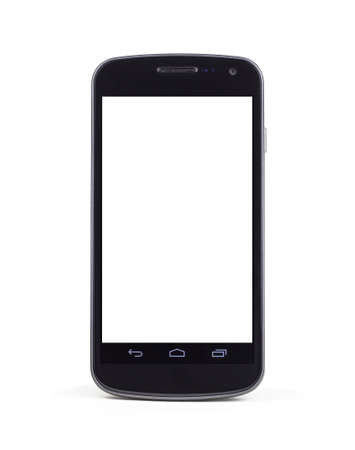 A modern mobile smart phone standing up right on a white background with a white empty screen