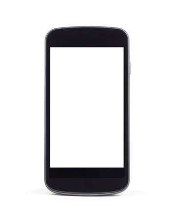 A modern mobile smart phone standing up right on a white background with a white empty screen.