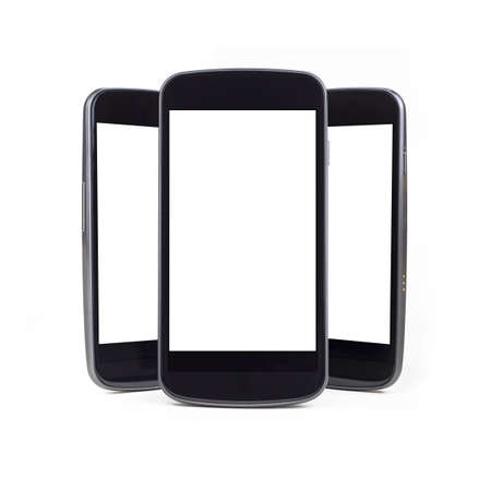 Three Modern Smart Phones standing straight up with a slight drop shadow over a white background  Perfect for displaying your own screen shots or apps  Stock Photo