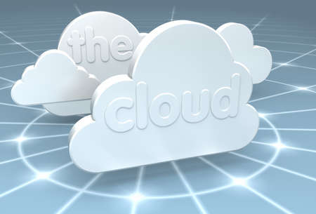A 3D rendering of a cloud computing center with glowing data rings fading off into the internet network Stock Photo