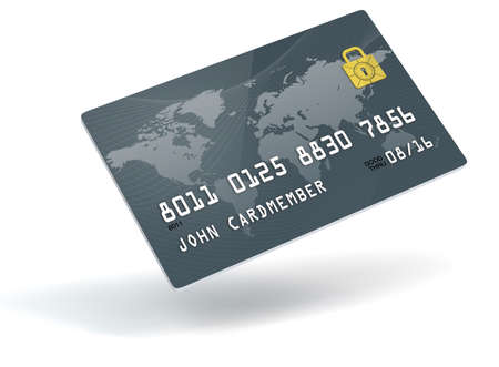 A 3D blue credit card over a white background