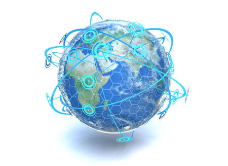 A 3D render of the earth showing crossing network communication lines around the globe photo