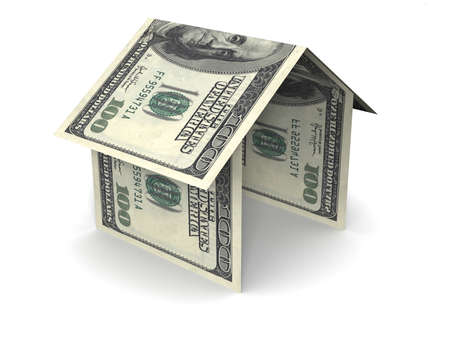simple house icon made of folding US one hundred dollar bils