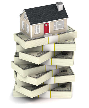 A 3D illustration of a house on a stack of bundled cash on a white background Stock Photo