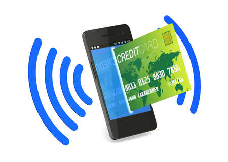 A smartphone with Near Field Communication (NFC) showing a plastic credit card going into the fron of the screen Фото со стока