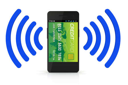 nfc: A smartphone with Near Field Communication (NFC) displaying a green world credit card on the front of the screen