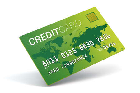 A 3D Bright green credit card on a white background Stock Photo