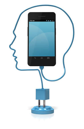 A blue cable forming the silhouette of a head plugged into a smart phone over a white background. Add your own text or icons to the screen. Stock Photo - 17141283