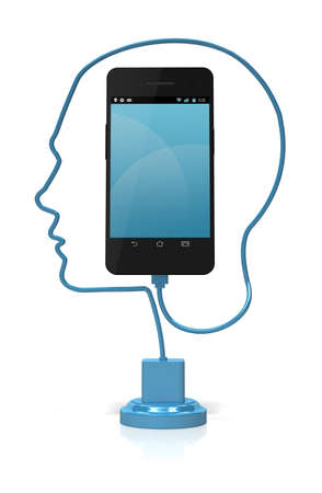A blue cable forming the silhouette of a head plugged into a smart phone over a white background. Add your own text or icons to the screen. Stock Photo - 17141282