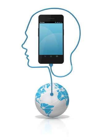 A global network cable forming the silhouette of a head plugged into a smart phone over a white background. Add your own text or icons to the screen.