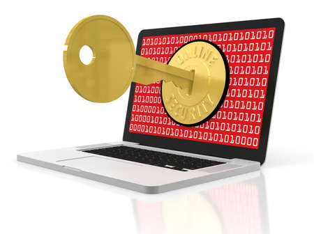 security lock: A laptop on a white background with its screen secured with a large gold lock and key.