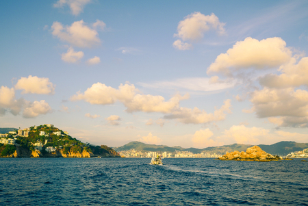 Acapulco Bay Caleta houses and hotels from the sea