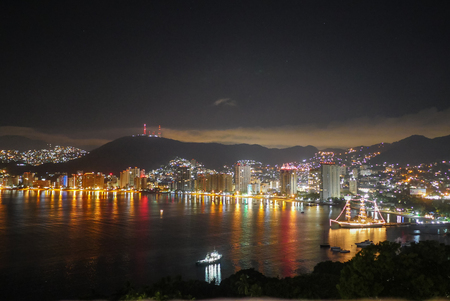 Acapulco bay at night 写真素材