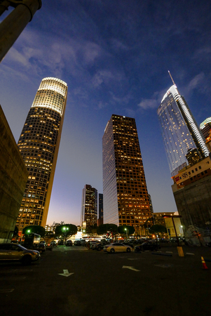 Los Angeles Downtown buildings from bellow Editorial