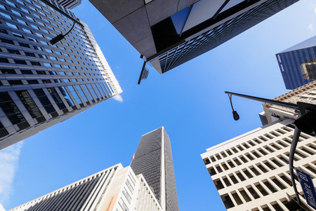 Los Angeles Downtown buildings from bellow Imagens