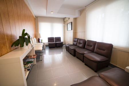 Dentist waiting room without people.