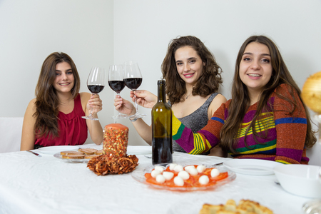Brunette women having Christmas celebration clinking with wineglasses and smiling at camera