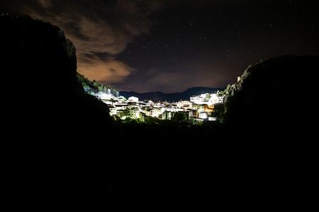 Beautiful views of Chulilla, Valencia village in Spain at night