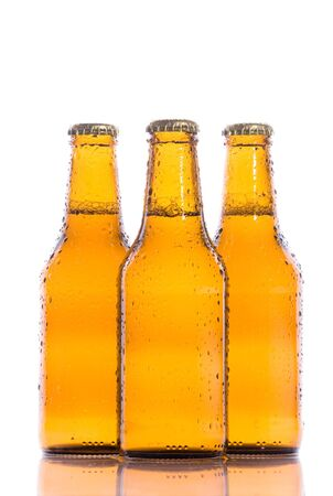 beers: Three isolated fresh beers